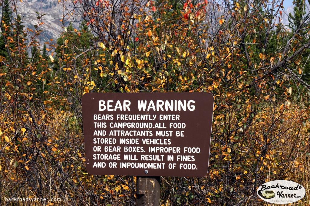 Bear Warning | Grand Teton National Park | Photo by BackroadsVanner.com
