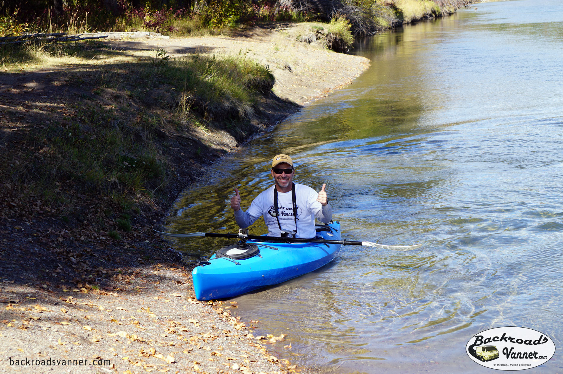 Mike Kayaking The Snake River Near Cattleman's Bridge | Grand Teton National Park | Photo by BackroadsVanner.com