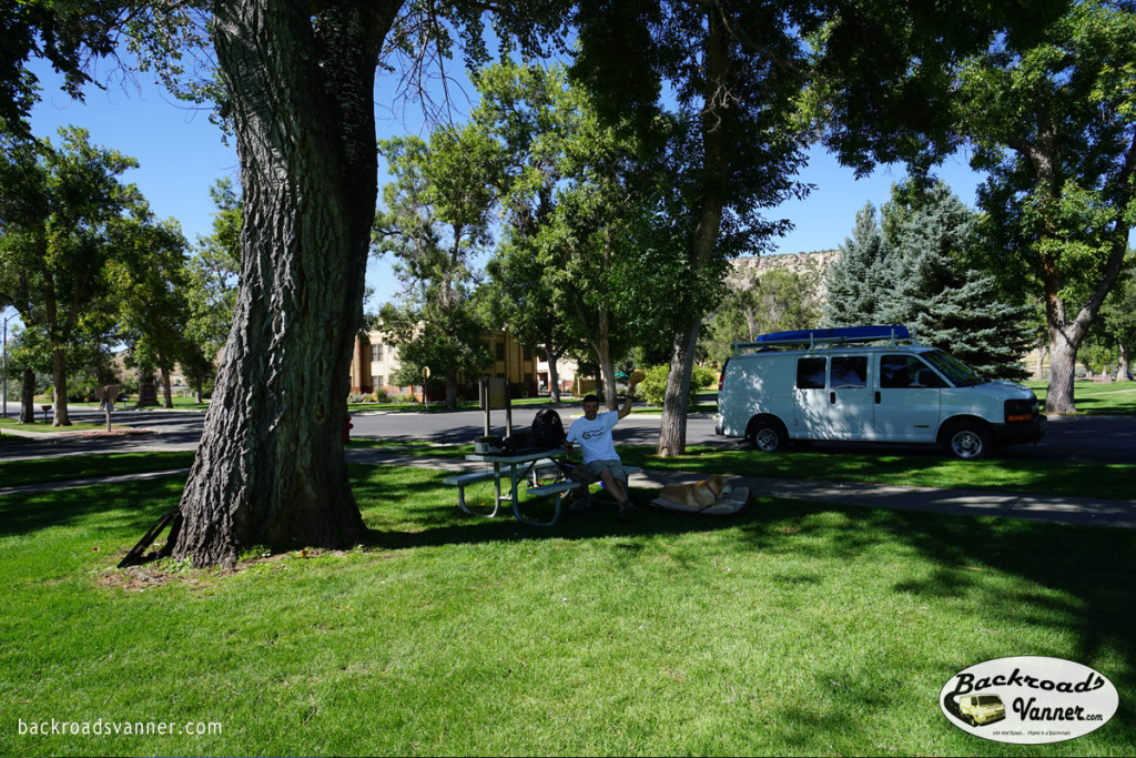Our Solar Mobile Off-Grid Office Set-Up in Thermopolis, WY @ Hot Springs State Park | Photo by BackroadsVanner.com