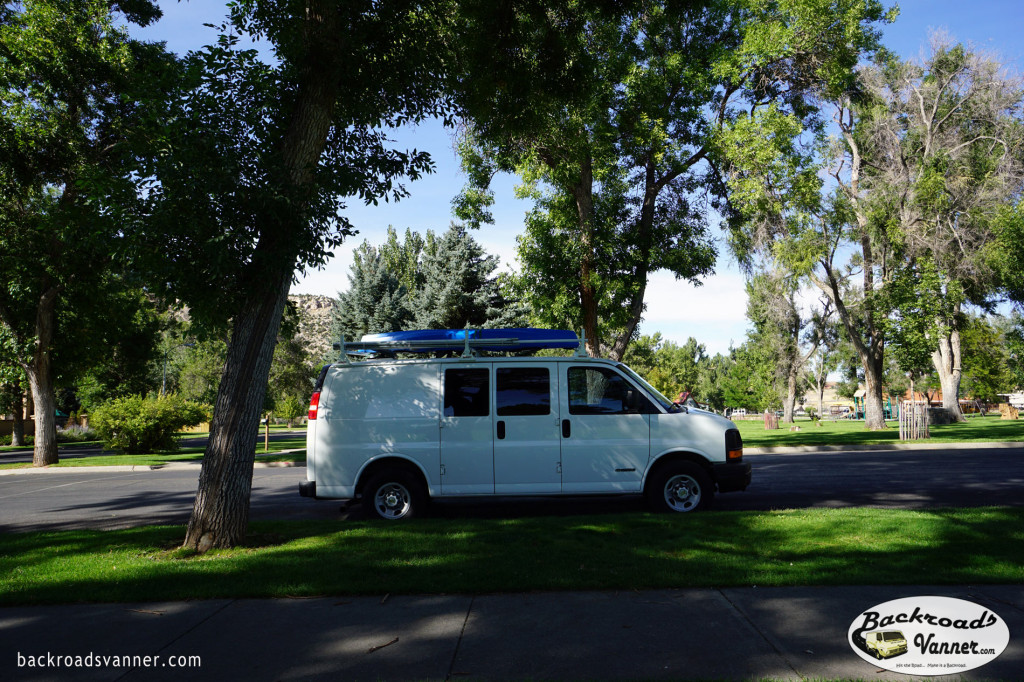 Our Solar Mobile Off-Grid Office Set-Up in Thermopolis, WY @ Hot Springs State Park   Photo by BackroadsVanner.com