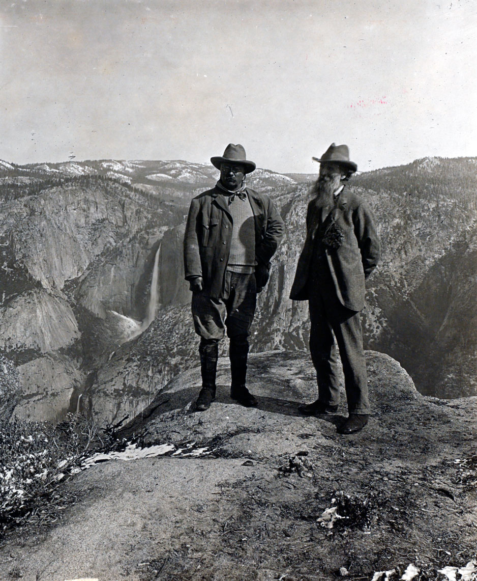 Theodore Roosevelt and John Muir on Glacier Point, Yosemite Valley, California, in 1903