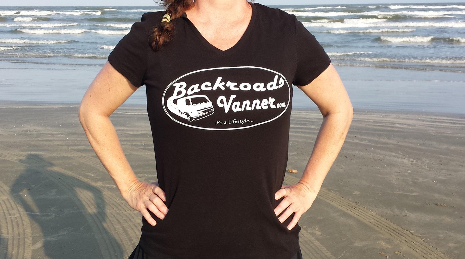 Women's Black V-NeckT-Shirt with Vintage Backroads Vanner Logo