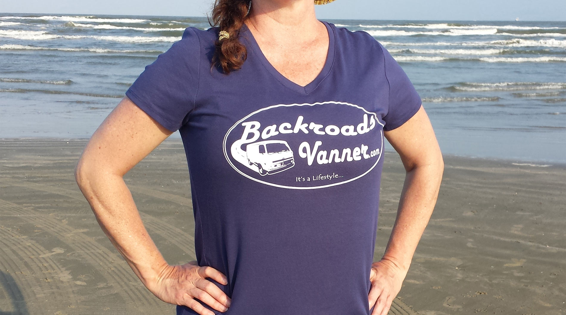 Women's Blue V-NeckT-Shirt with Vintage Backroads Vanner Logo