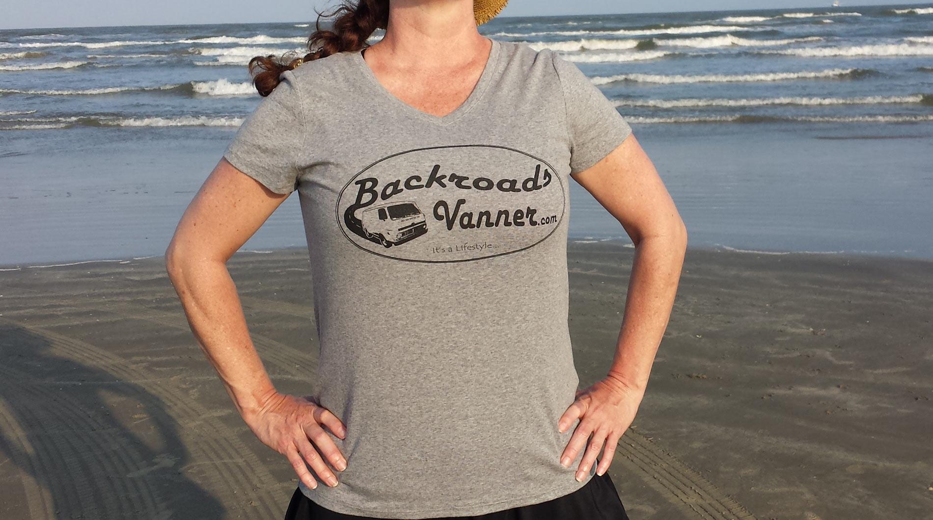 Women's Grey/Black V-NeckT-Shirt with Vintage Backroads Vanner Logo