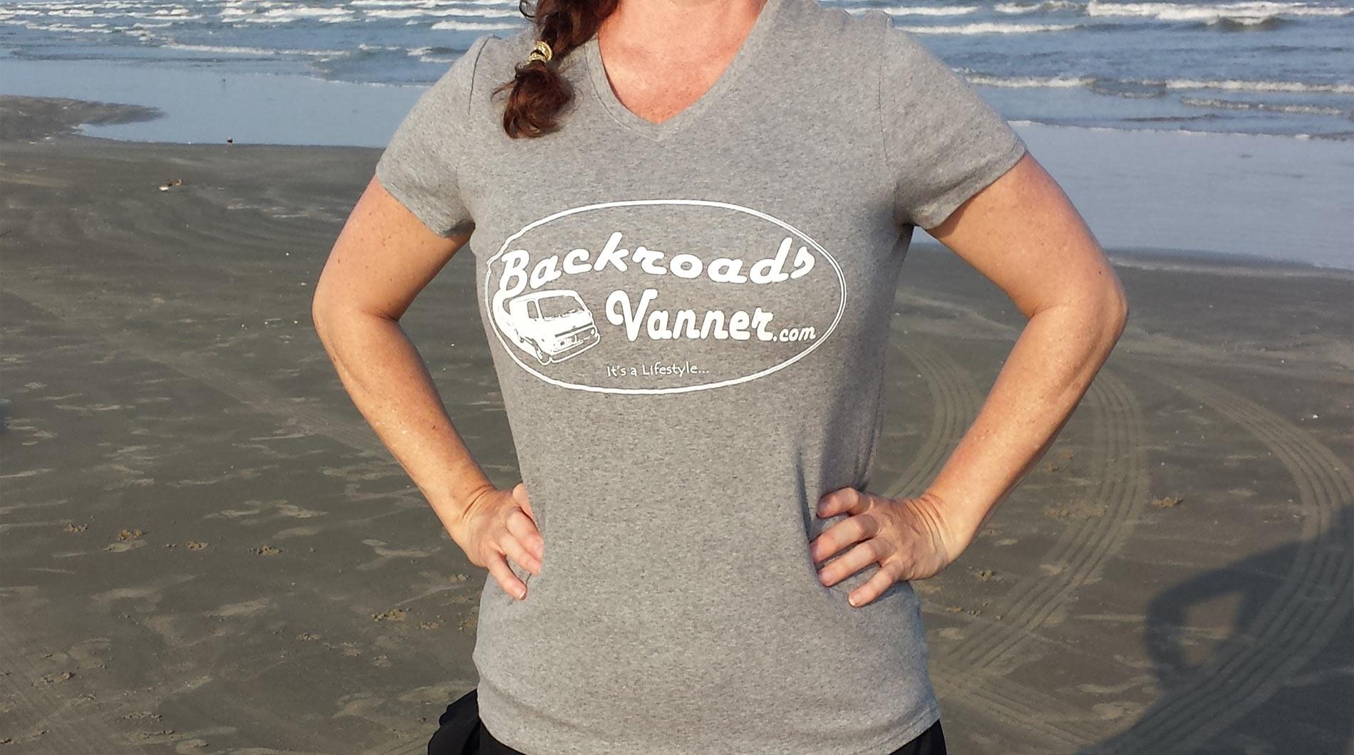 Women's Grey/White V-NeckT-Shirt with Vintage Backroads Vanner Logo
